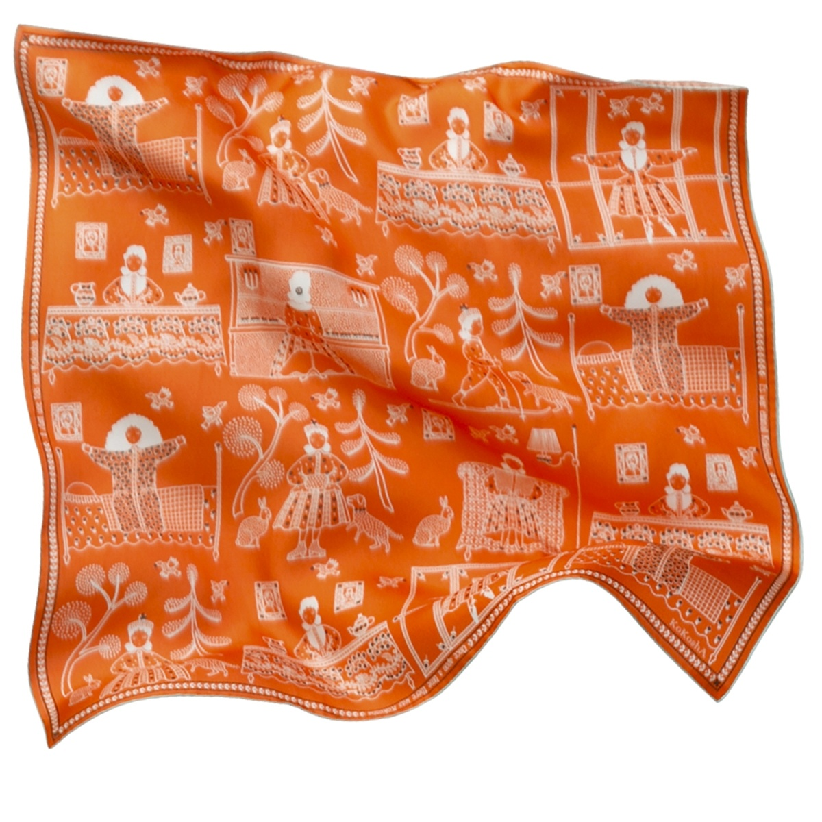"Scarf ""Once upon a time there was Kokosha"" silk 65x65 on an orange background"